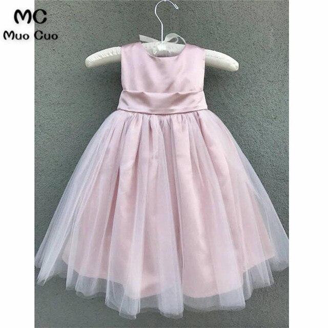 Modern 2018 Ball Gown first communion dresses for girls Tulle   Satin  O-Neck Knee Length flower girl dresses for weddings db1a0ec7d83d