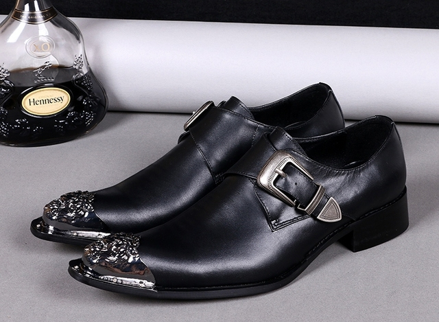 Buckle Genuine Leather Wedding Shoes Men Formal Metal Pointed Toe Mens Dress Black Oxford