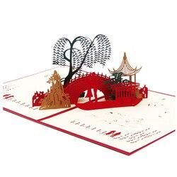 3D pop-up birthday greeting card postcard gift card bridge water