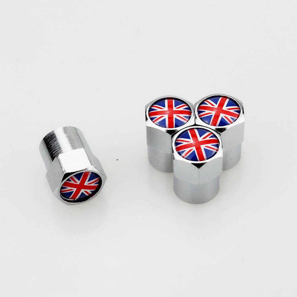 4 X Mobil & Sepeda Motor Logam Mobil Ban Tutup Katup Penutup Bendera Inggris untuk Mini Cooper Coupe Cabrio MINI SATU mini Seri