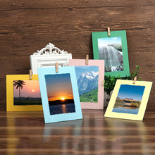 Hanging Paper Frame Kraft Multicolour Paper 10Pcs With Rope and Clips Photo Wall Rectangle 7 Inch Creative Decoration 2019