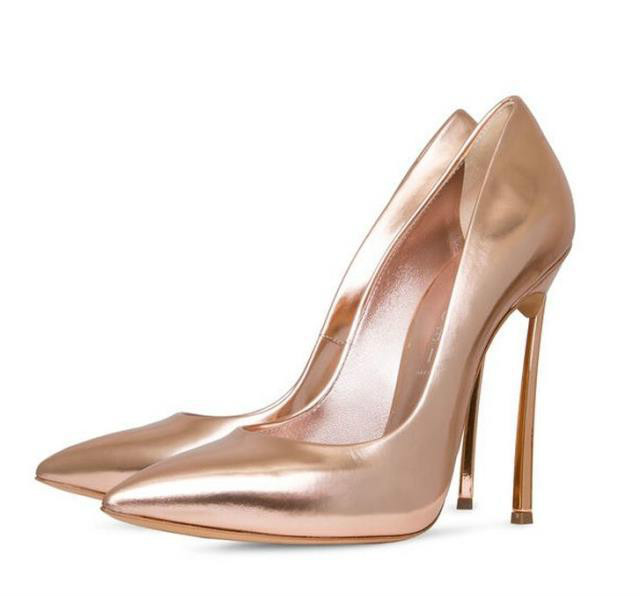 Fashion Women Shoes Zapatos Mujer 12cm Metal High Heels Sexy Wedding Shoes PU Leather Pointed Gold Women Pumps Sapatos 44 2017 new spring summer shoes for women high heeled wedding pointed toe fashion women s pumps ladies zapatos mujer high heels 9cm