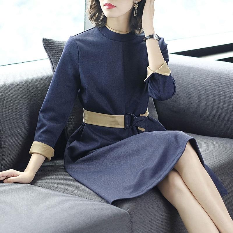 Élégante Manches Ceinture Mince A Automne pink Femmes Soirée Blue Chaud Mode 3 Solide O Nouveau 4 De Robe cou Robes ligne Coréenne pOqvX6Zw