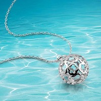 Holle bal hangers ketting voor mode dames, 2014 gloednieuwe 925 sterling zilveren hangers ketting