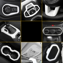Lsrtw2017 Abs Car Central Control Steering Wheel Height Adjuster Headlight Dashboard Vent Trims for Jeep Renegade 2016 2017 2018