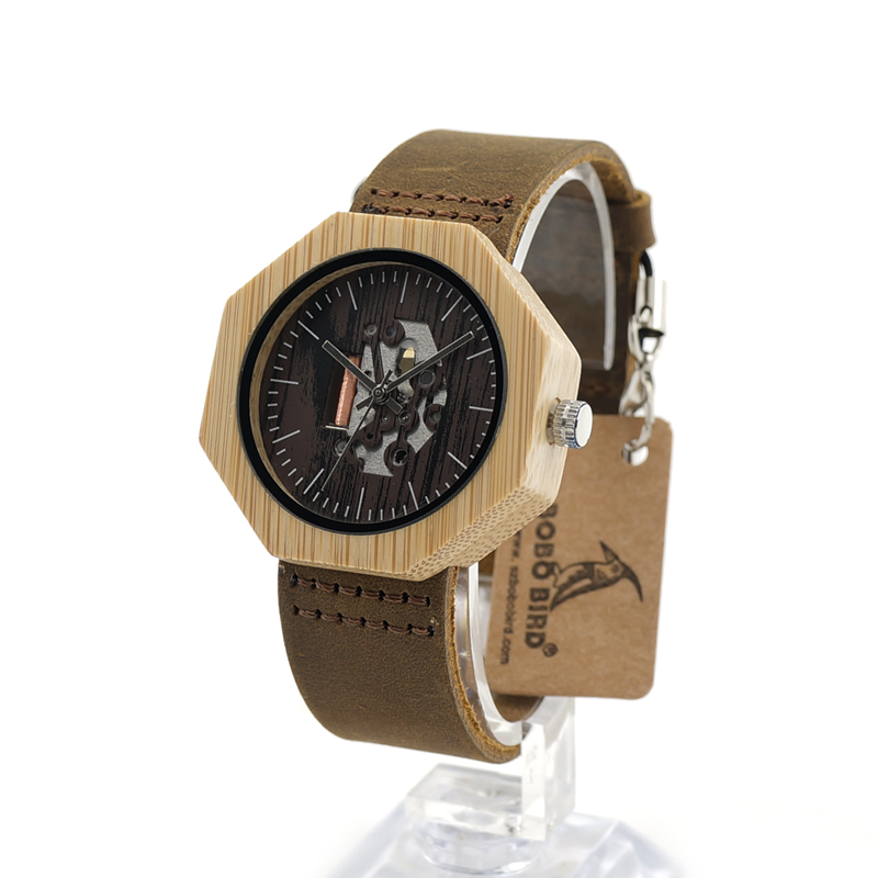 ФОТО BOBO BIRD I09 Bamboo Wood Watches for Women Unique Cool Octagonal Bamboo Case Japanese 2035 Movement Quartz Watches in Gift Box