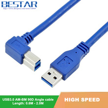 90 Degree Right Angled USB 3.0 A Male AM to USB 3.0 B Type Male BM USB3.0 Cable 0.6m 1m 1.8m 2FT 3FT 6FT For printer scanner HDD