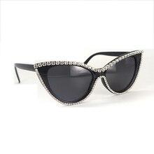Rhinestone Cateyes Retro Vintage Celebrity Inspired High Pointed Frame Sunglasses Cat Eye Sexy Sun Glasses