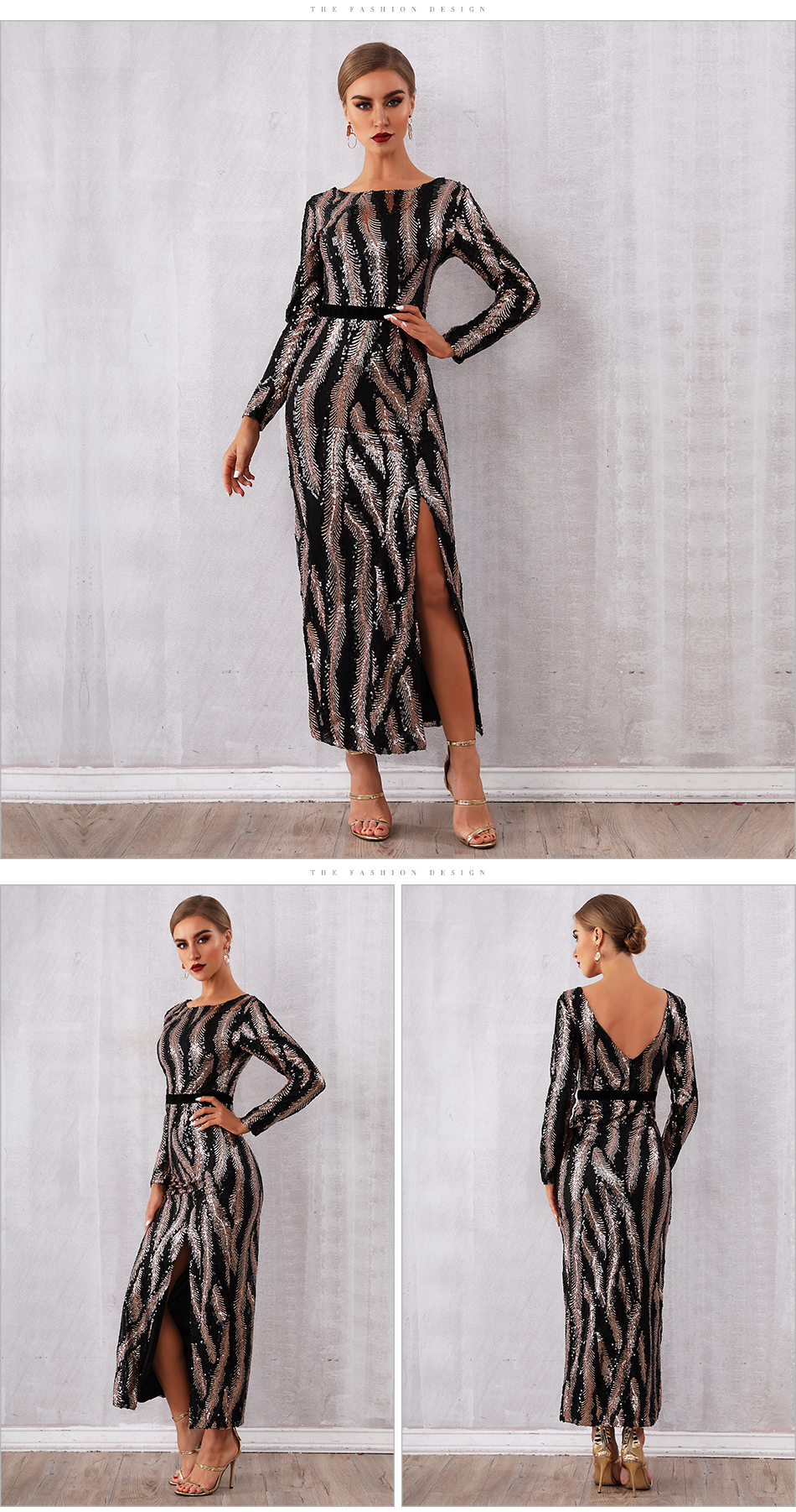 1c83655b59fe7 Adyce 2019 New Spring Celebrity Party Dress Sequined Women Dress Vestido  Sexy Deep V Neck Maxi Backless Long Sleeve Club Dresses