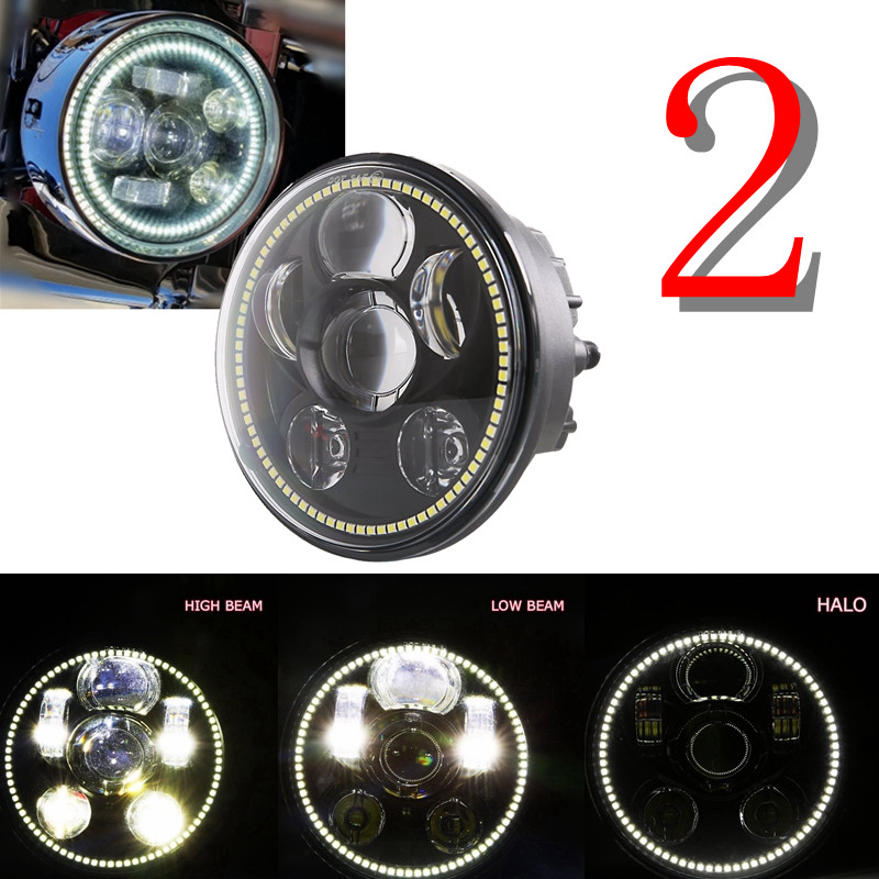 2018 New Motos Accessories 5.75 headlight motorcycle 5 3/4 led headlight for Harley 5-3/4 Motorcycle Black Projector Daymaker