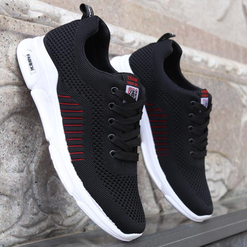 Aike Asia Hot Men's Shoes Mens Mesh Casual Shoes Flying Woven Trend Running Shoes Wild Breathable Sports Shoes High Quality Cushion Shoes