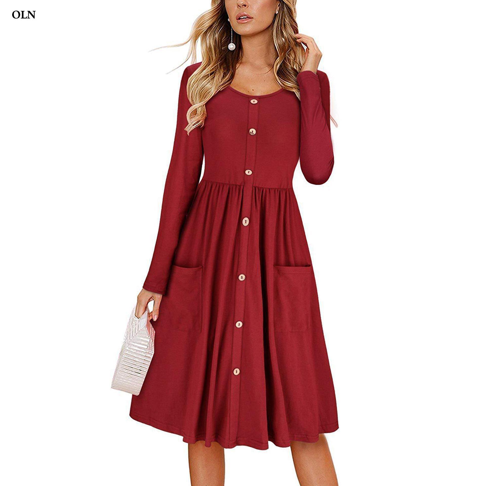 OLN Autumn Long Sleeve Casual Dress Women Victorian Bustle Dress Vintage