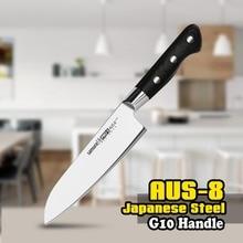 SP-0095 7 Inch Santoku Knife AUS-8 Japanese Stainless Steel Black G10 Kitchen Chef Blade Slicing