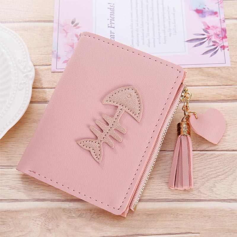 Borlas Mulheres Carteiras Bolsas de Senhora Curto Meninas Coin Purse Mini Bolsa de Mulher Carteira Cartões de ID Titular bolsa de Dinheiro Clips de Peixe Fêmea bolso