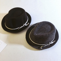100 Wool Winter Kids Jazz Fedora Hat Solid Felt Winter Cap For Boys Girls Large Brim