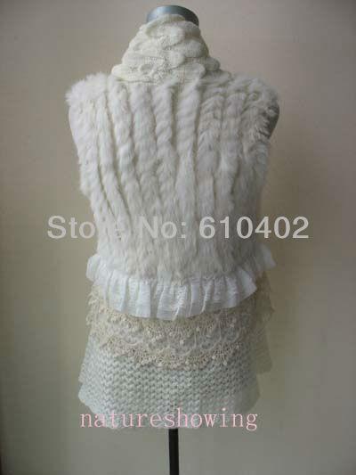 Бесплатная доставка/Новый стиль кролика трикотажные с кружевом Мода Жилет пальто/куртка//белый