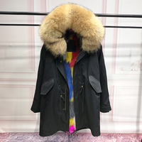 Real Fox Fur Liner Winter Jacket Women Parka Natural Big Raccoon Fur Collar Hooded Parkas Thick