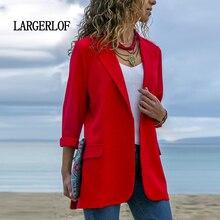 LARGERLOF Womens Blazer Jacket Red Fashion Suit Black Plus Size Women Blazers For Office BR55003