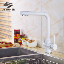Uythner Newly White Painting Baked Kitchen Pur Water Faucet Single Hole Sink Faucet Basin Mixer Tap Deck Mount