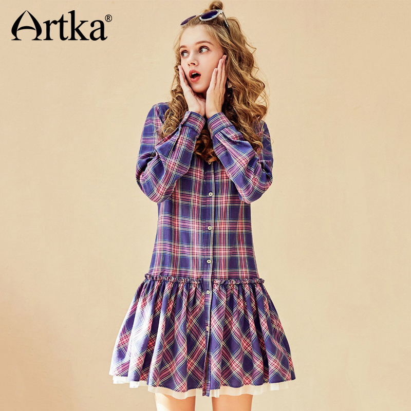 ARTKA 2018 Autumn New Women Casual Cotton Preppy Style A line Ruffled Lantern Sleeve Plaid Dress