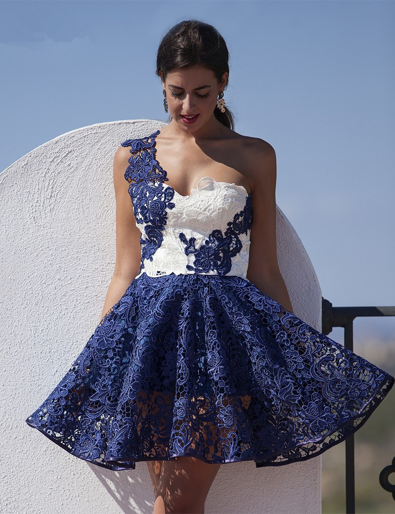 Royal Blue White Lace Short Prom   Cocktail     Dresses   A-line One Shoulder Sleeveless Cheap   Cocktail   Party   Dress   Robe De   Cocktail