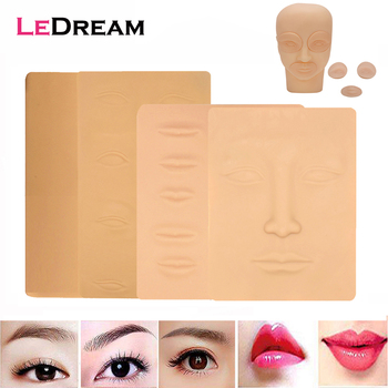 3D Silicone Permanent Makeup Tattoo Training Practice Fake Skin Blank Eye Lips Face For Microblading Tattoo Machine Beginner