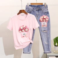 Spring Women Short Sleeves Beading Tee Tops Sets Perfume Bottle Flowers Casual T Shirts + Hole Nine points Jeans Two pieces Sets