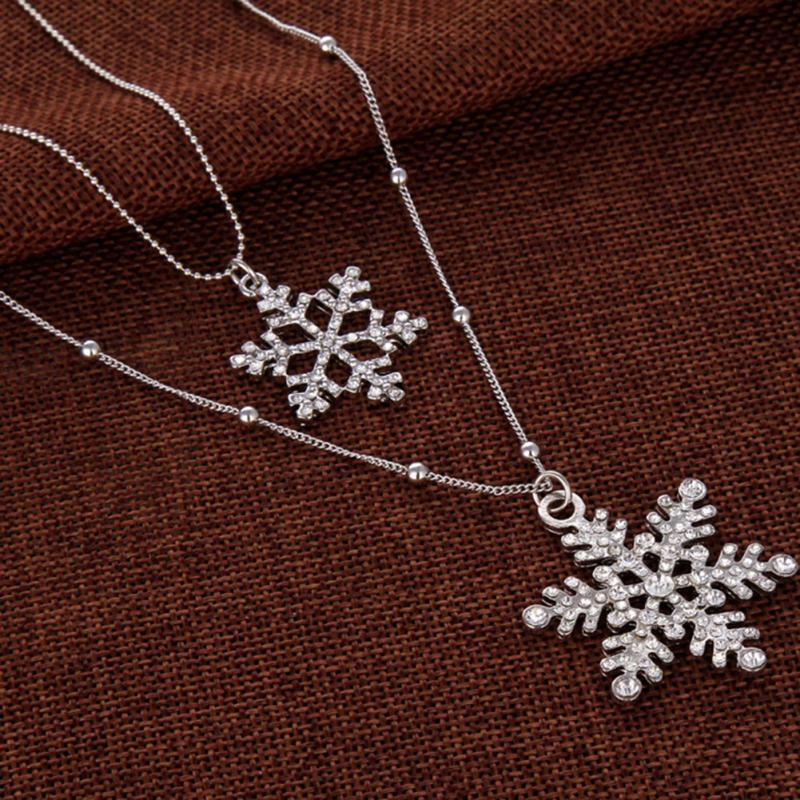 Women Vintage Crystal Rhinestone Christmas Snowflake Pendant Necklace Silver Double Chains Sweater Chain Necklaces Jewelry Gift