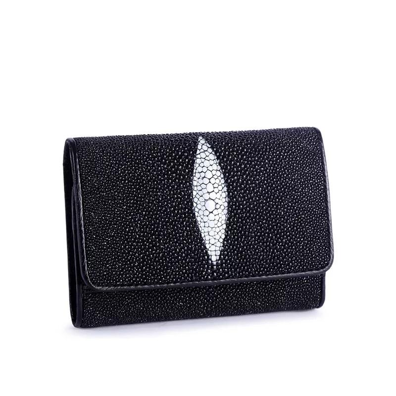 Genuine Stingray Wallets Skin Leather Bifold Purses Pearl Black Men/'s Wallets