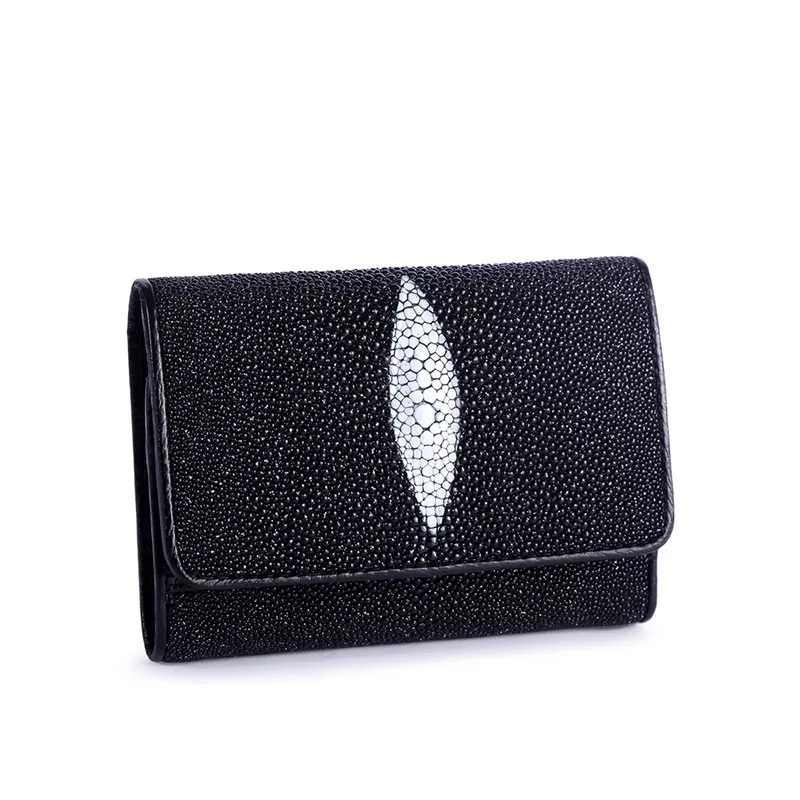 ... Fashion Designer Genuine Stingray Skin Women s Short Purse Exotic Pearl Fish  Leather Female Trifold Wallet Lady ... aa25abc4d