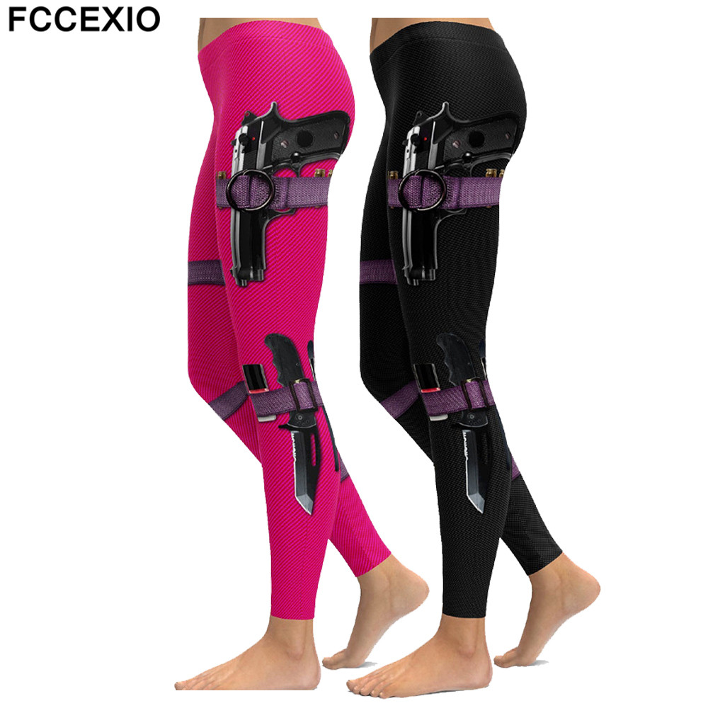 FCCEXIO New Gun Equipment Print Leggings Fashion Women Leggings Super Hero Deadpool Leggins Workout Legging Woman Fitness Pants