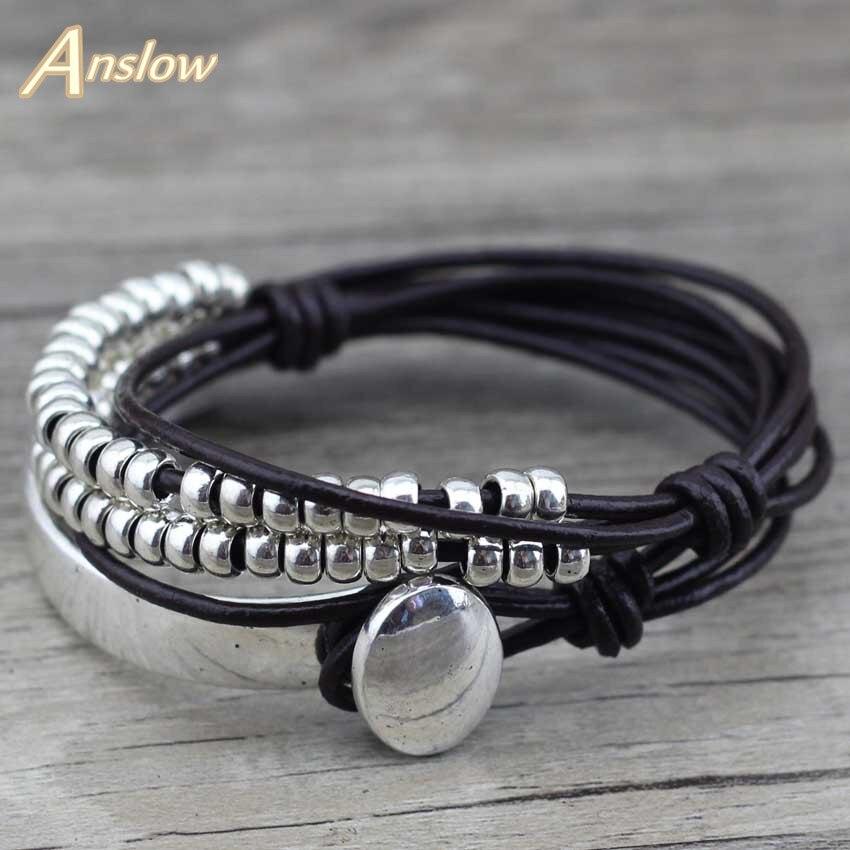 Anslow – Bracelet en cuir multicouche Vintage bohème fait à la main, bijoux pour fête des mères