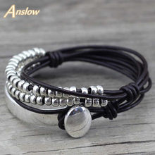 Anslow Merek Bohemian Vintage Buatan Tangan Multilayer Wrap Perhiasan Wanita Ibu Ulang Tahun Kulit Gelang Bangle LOW0465LB(China)