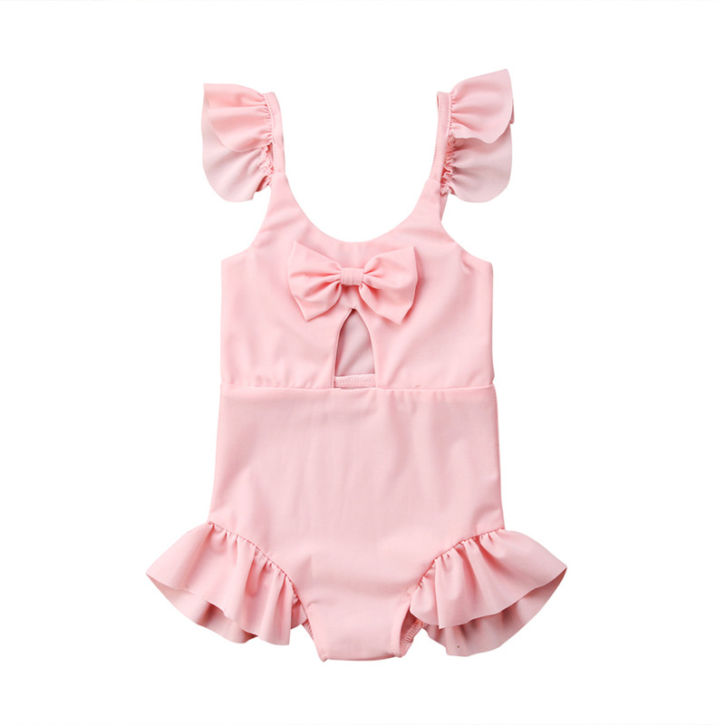 Bathing Children's Swimsuit Pink Bowknot Baby Girls Lovely Swimwear Beach Clothes One-piece Baby Swimsuit Swimwear For Girls
