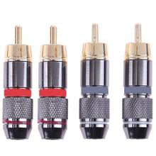 4pcs RCA Audio Video Connector Plug Pure Copper 6mm Female Solderless Gold Plated Audio Video Plugs