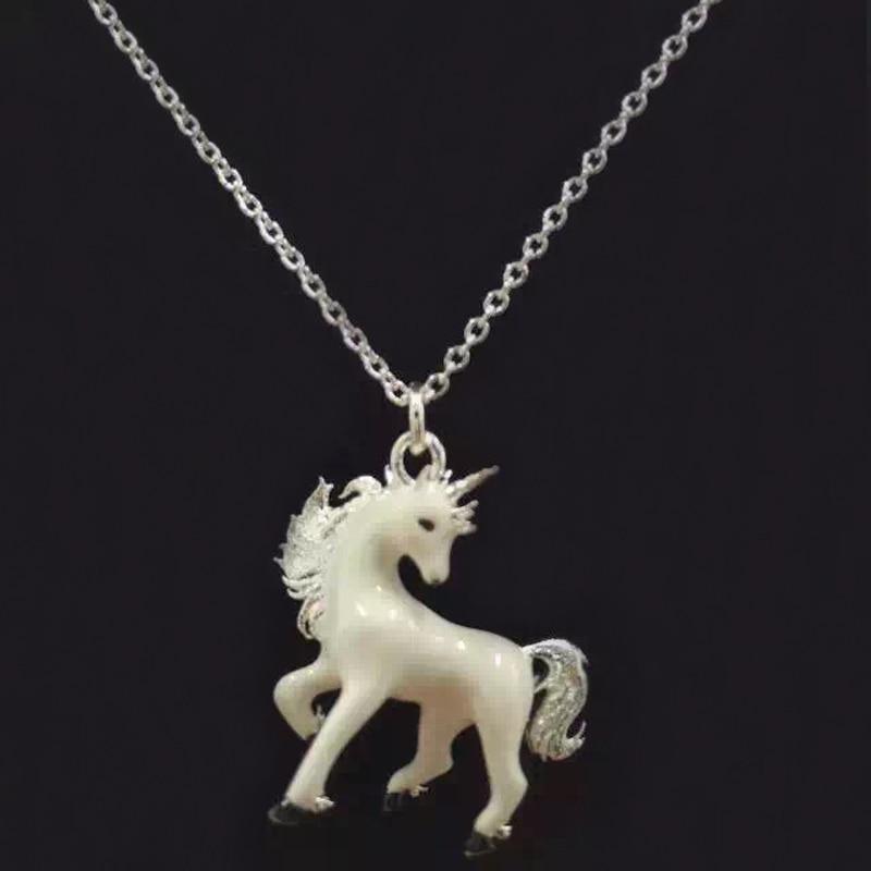 6b20b8dde722 1 unid moda nuevo Metal blanco unicornio colgante collar de cadena ...