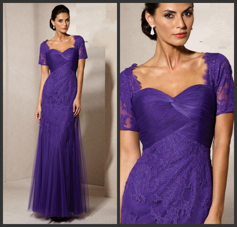 2014 Plus Size Mother Of The Groom Dresses Purple Short Sleeve Lace