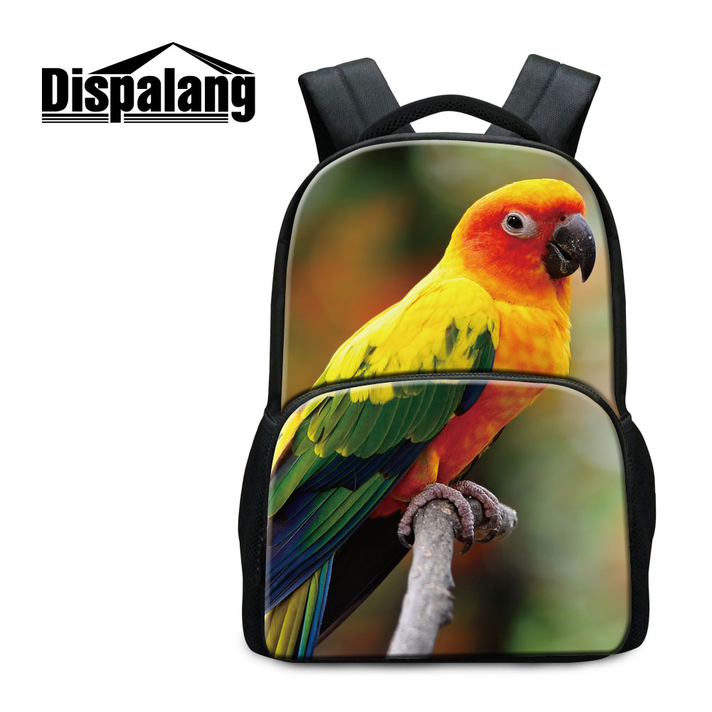 dispalang colorful bird printing backpack for teenage