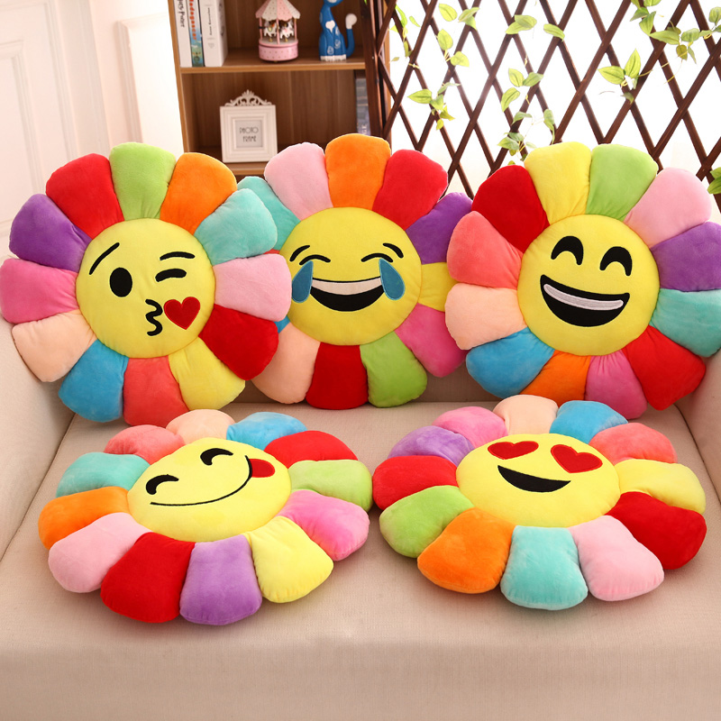 Smile Pillow Emoji Chair Cushions For Kitchen Chairs,Cojines Emoticonos,Sofa Car Decorative Pillows,Soft Round Pillow For Child