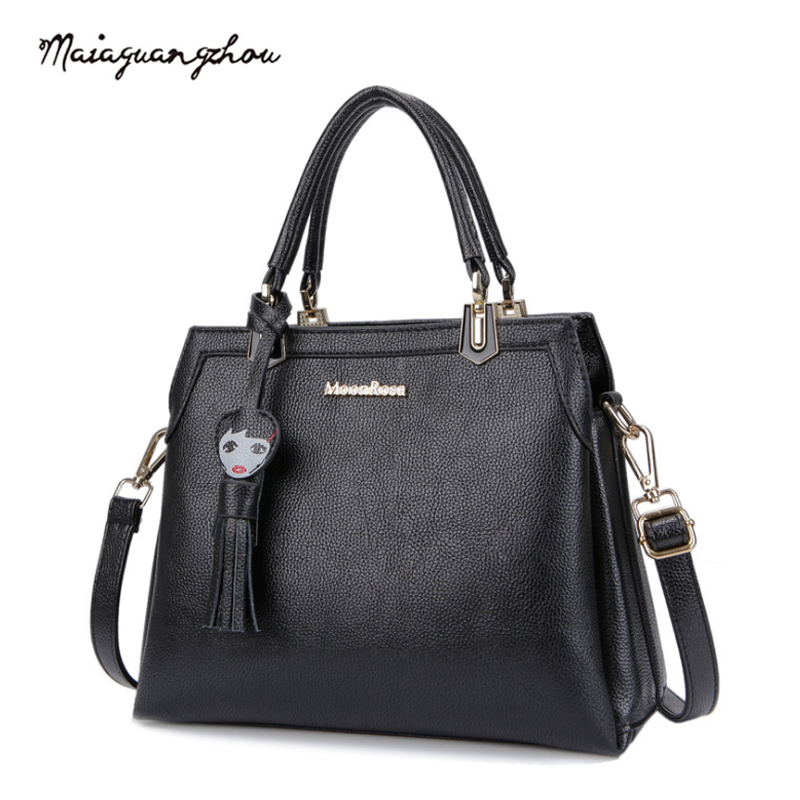 Maia Hot Sale Fashion Women Bags 2017 Solid Black Tassel High Grade PU Leather Large Capacity Crossbody Female Bags Famous Brand