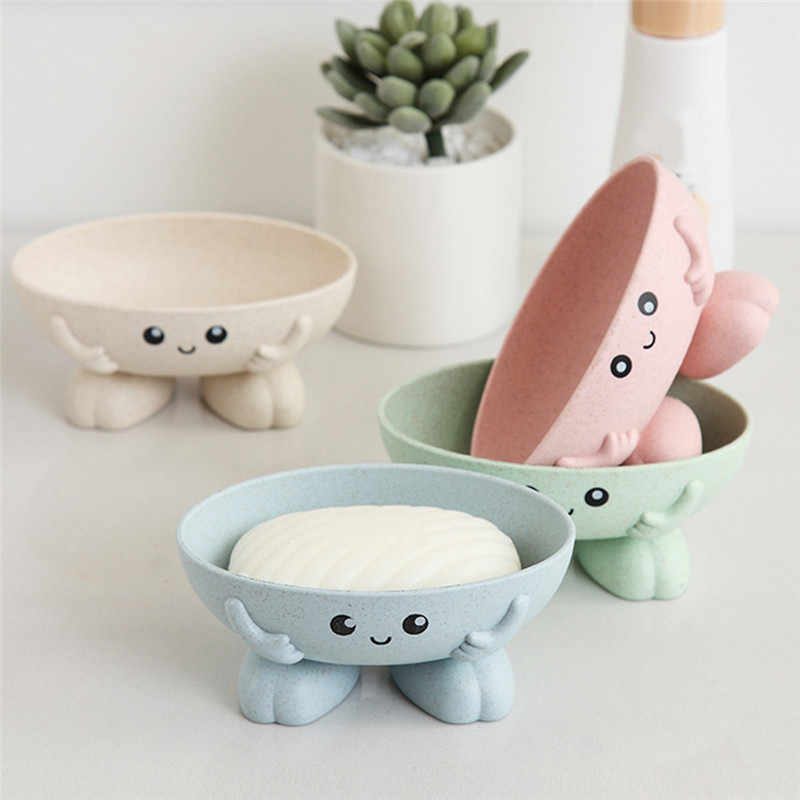 Cartoon Shape Soap Box with Cover Soap Dish Draining Practical Easy Clean Soap Dish Bathroom Soap Dish Box