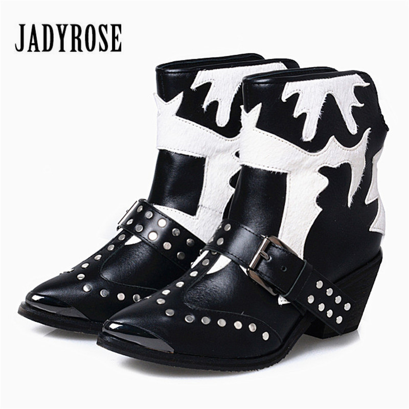 Jady Rose Vintage Black White Women Genuine Leather Horsehair Ankle Boots Metal Pointed Toe Booties Female Rivet Botas Militares women ladies flats vintage pu leather loafers pointed toe silver metal design