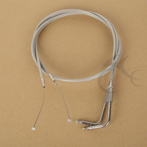 """Stainless Braided 12/"""" Throttle Cable Set 1998-2001 Harley-Davidson Road Glide"""