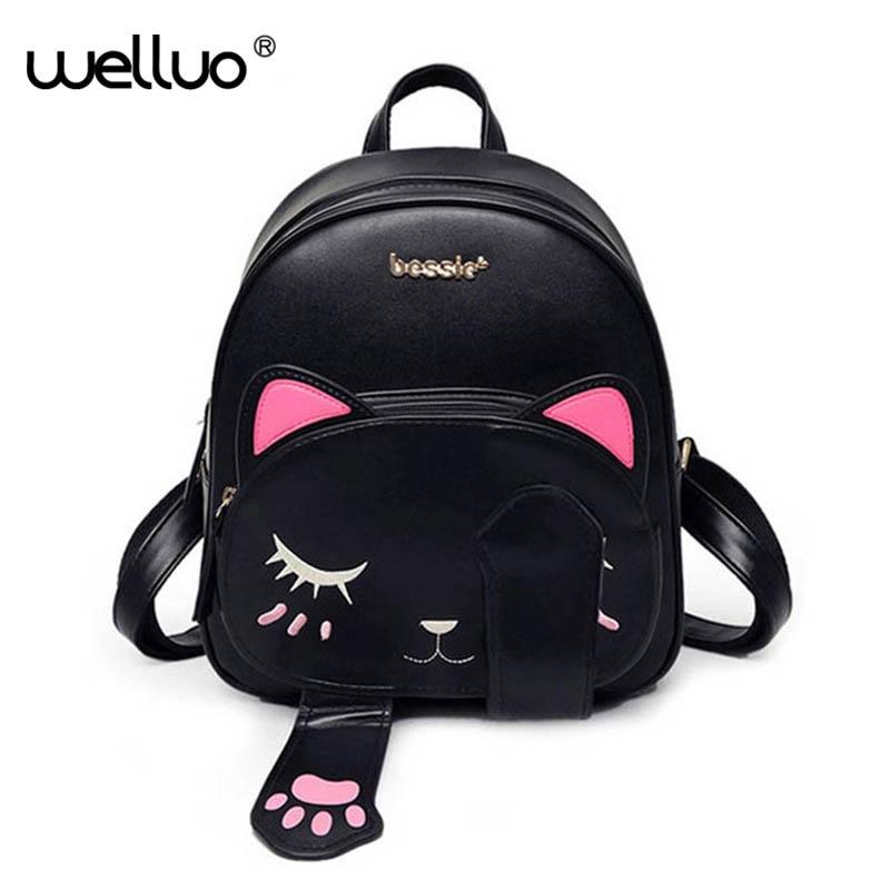 Lindo gato Mochila De Cuero Pu para mujeres, mochilas para chicas adolescentes gatos orejas de lona bolsos de hombro mujer Mochila XA531B