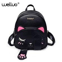 6cd4b34c3 Lindo gato Mochila De Cuero Pu para mujeres, mochilas para chicas  adolescentes gatos orejas de lona bolsos de hombro mujer Mochi.