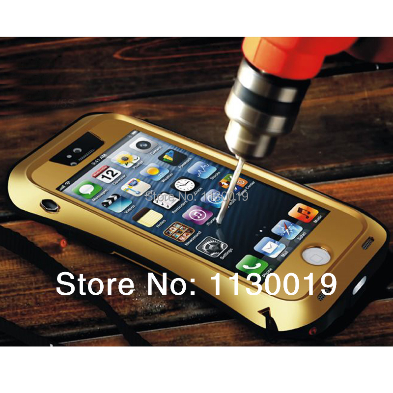 Luxury Dirtproof Shockproof Waterproof 3 Proofs Metal Aluminum Case Cover with Gorilla Glass for Apple iPhonse5 5S Free Shipping