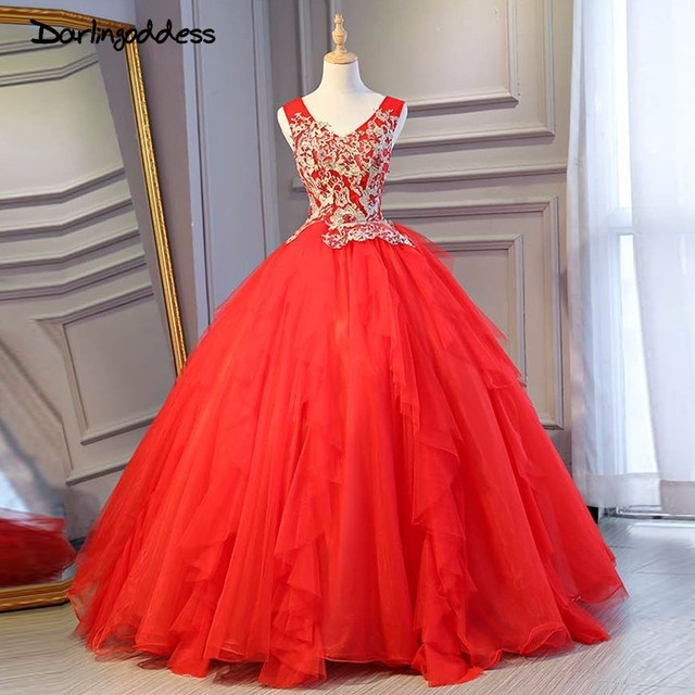 Darlingoddess Cheap Red Wedding dresses Sexy V Neck Embroidery Gold Lace Fluffy Romantic Wedding Dress 2018 Vestido de Noiva