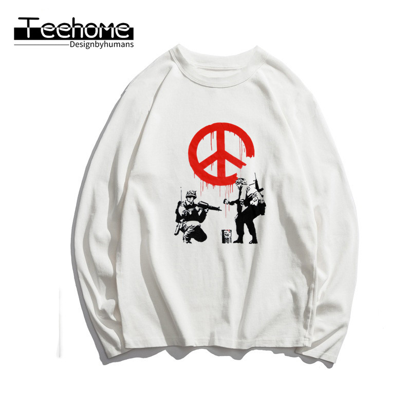 Men's Flower Thrower Banksy Panda Guns Urban Art  Print Long Sleeve Autumn Men and Women Full Sleeve  T Shirt Winter Streetwear