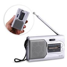 BC-R22 Universal Slim AM/FM Mini Radio Portable Stereo Speakers Receiver Music Player Silver(China)