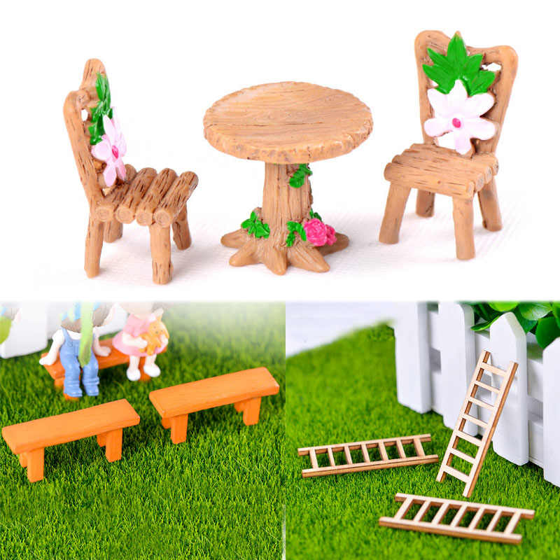Garden Table Chair Miniature Terrarium Resin Craft Micro Landscape Ornament Fairy 3PCS/Set Figurine Decoration